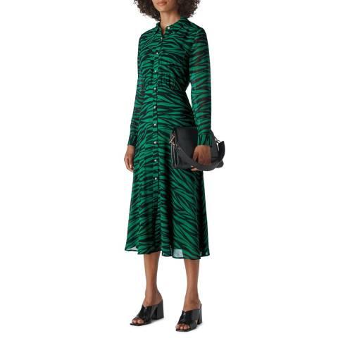 WHISTLES Green Carys Tiger Print Shirt Dress