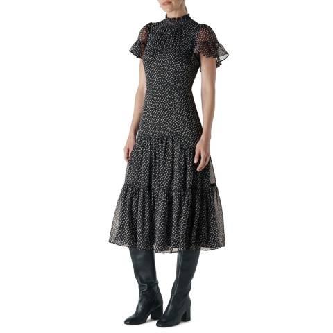 WHISTLES Black Almond Blossom Misha Dress