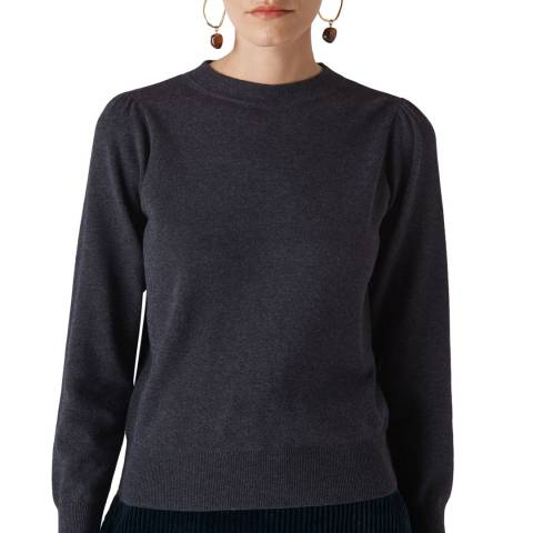 WHISTLES Charcoal Puff Sleeve Cotton Blend Jumper
