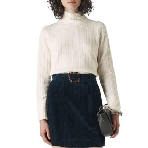 WHISTLES Ivory Rib Detail Wool Jumper