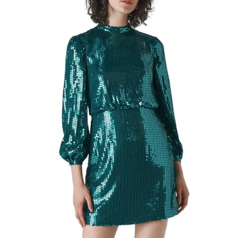 WHISTLES Teal Dena Sequin Dress