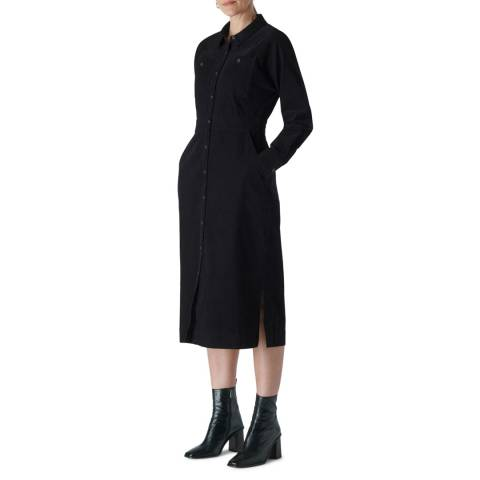 WHISTLES Black Romaine Cotton Cord Dress