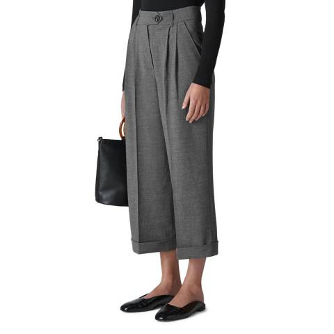WHISTLES Grey Turn Up Wide Leg Trousers