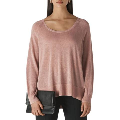 WHISTLES Pale Pink Sparkle Scoop Neck Jumper
