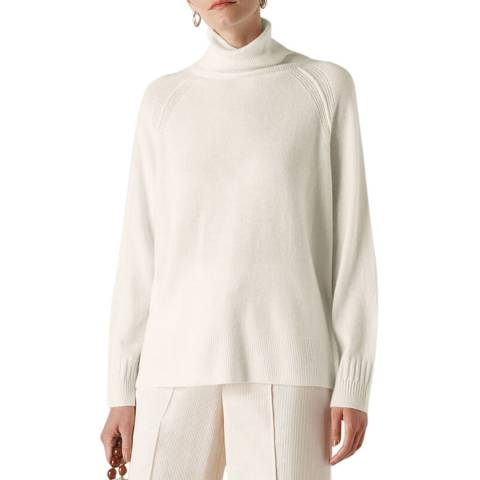 WHISTLES Ivory Roll Neck Cashmere Jumper