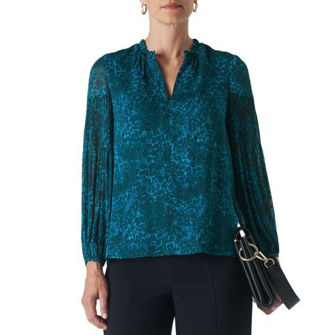 WHISTLES Teal Big Cat Dobby Blouse