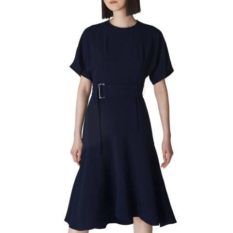 WHISTLES Navy Belted Midi Dress