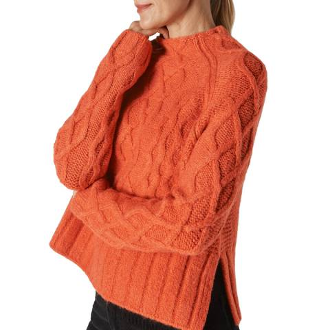 WHISTLES Orange Modern Cable Knit Jumper