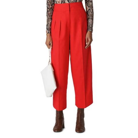 WHISTLES Red Sophie Pleat Front Peg Trousers