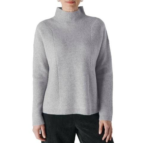 WHISTLES Grey Eden Ribbed Merino Wool Jumper