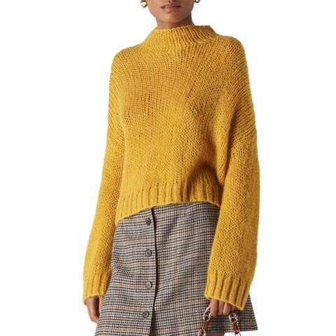 WHISTLES Yellow Oversized Wool Blend Jumper