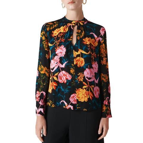WHISTLES Multi Digital Bloom Print Blouse