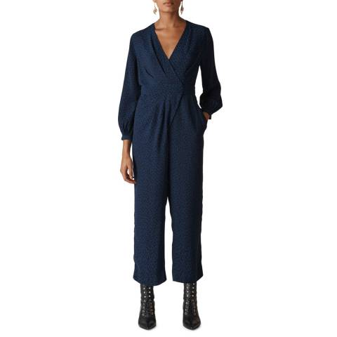 WHISTLES Navy Animal Jacquard Wrap Jumpsuit