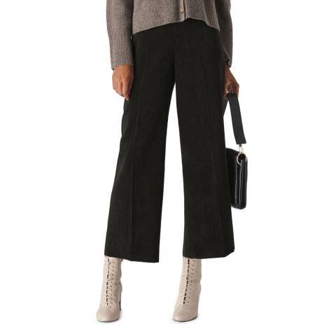 WHISTLES Black Wide Cotton Trousers