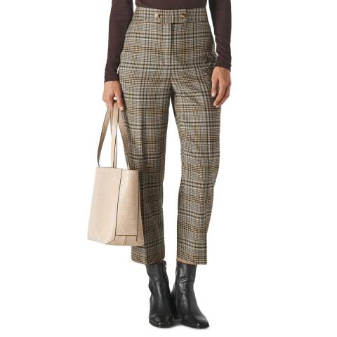 WHISTLES Multi Check Button Front Trousers