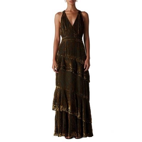 WHISTLES Gold Edith Reed Print Maxi Dress