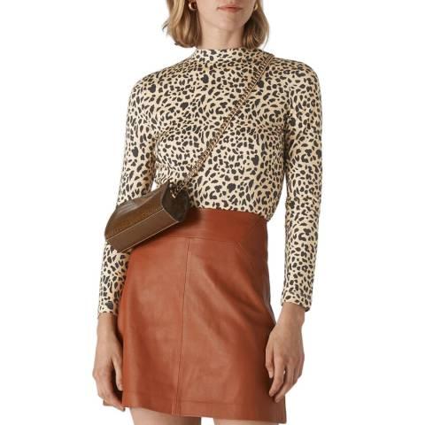 WHISTLES Multi Brushed Cheetah Top