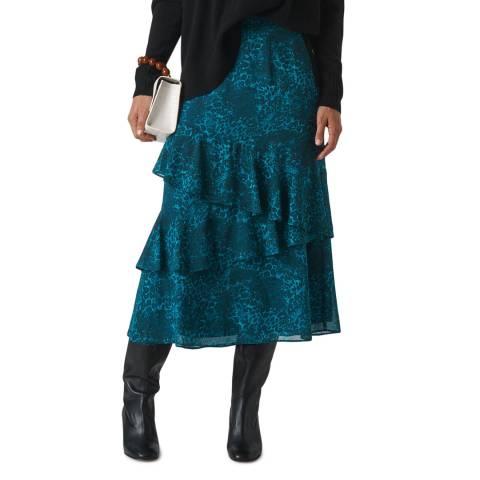 WHISTLES Teal Big Cat Tiered Midi Skirt