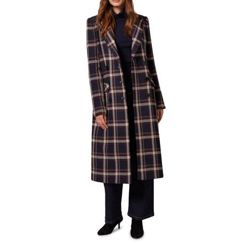 Phase Eight Navy Candice Check Wool Blend Coat