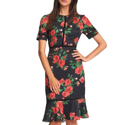 Phase Eight Black Hesita Rose Dress