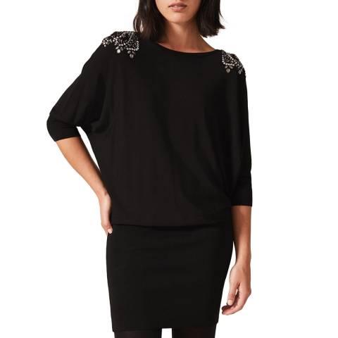 Phase Eight Black Elizabeth Embroidered Dress