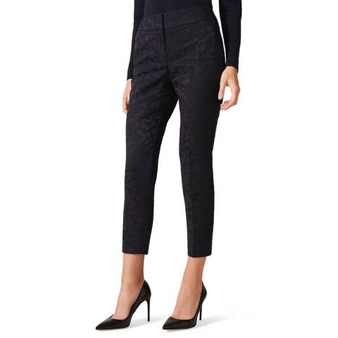 Phase Eight Navy Tala Jacquard Stretch Trousers