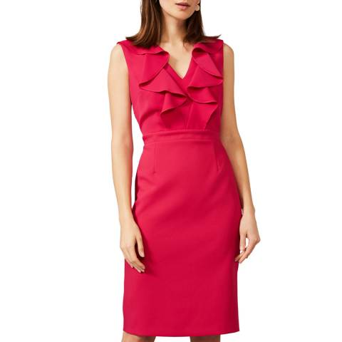 Phase Eight Red Linda Frill Dress