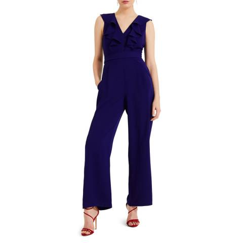 Phase Eight Blue Linda Frill Jumpsuit