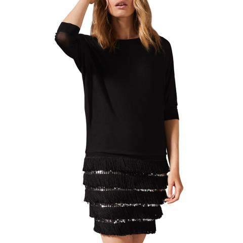 Phase Eight Black Fae Fringe Sequin Dress