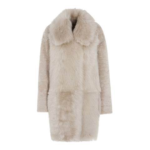 Gushlow & Cole Sand Relaxed Fit Mixed Shearling Coat