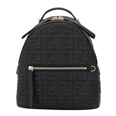 Fendi Black/Gold Double F Quilted Backpack
