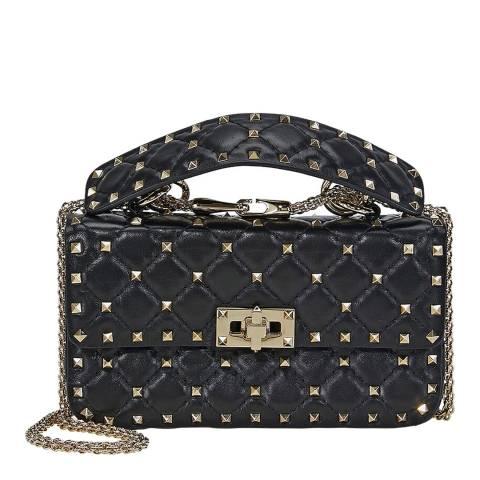 Valentino Garavani Black Small Rockstud Spike Top Handle/Crossbody Bag