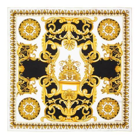 Versace Black/White/Gold Contrast Barocco Print Foulard