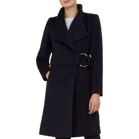 Ted Baker Navy Anemon Wool Belted Coat