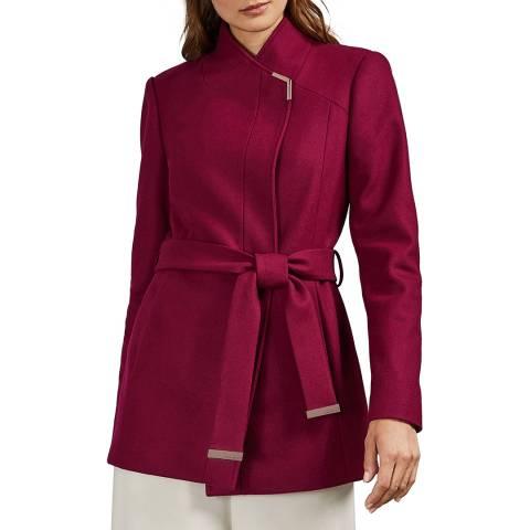 Ted Baker Pink Drytaa Wool Belted Wrap Coat