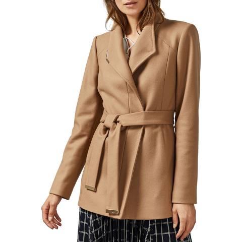 Ted Baker Tan Drytaa Wool Belted Wrap Coat