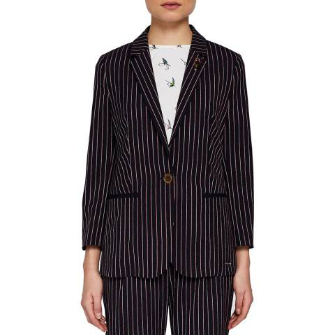 Ted Baker Navy Lehh Striped Fitted Blazer