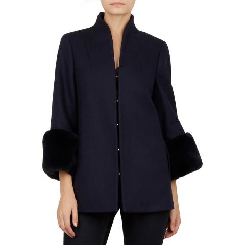 Ted Baker Navy Wool Rilly Faux Fur Cuff Coat
