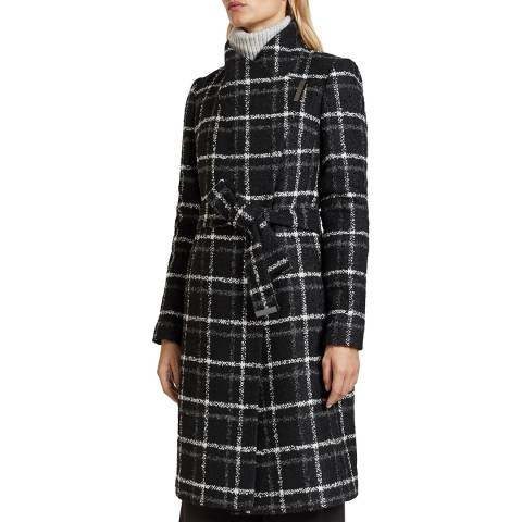 Ted Baker Navy Rosylin Wool Blend Check Coat