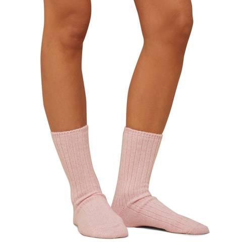 N°· Eleven Pink Cashmere Ribbed Bed Socks