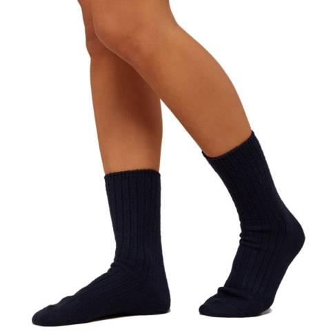 N°· Eleven Navy Cashmere Ribbed Bed Socks