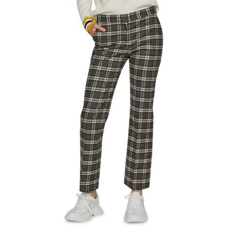 MAJE Beige/Grey Check Straight Stretch Trousers