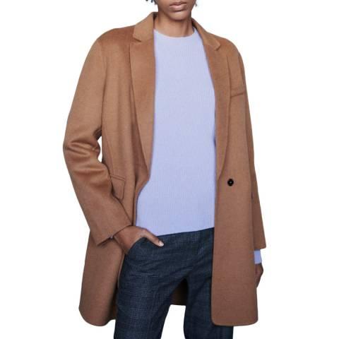 MAJE Beige Galami Straight Wool Blend Coat