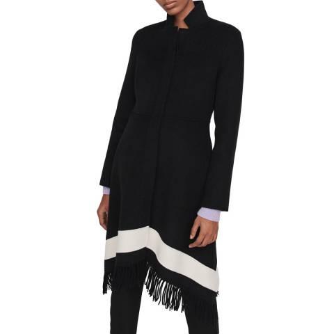 MAJE Black Galinette Fringed Wool Blend Coat