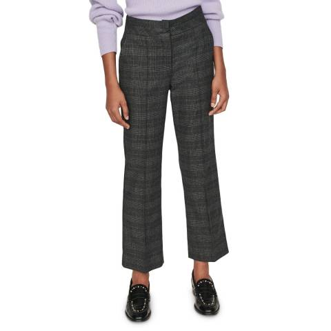 MAJE Grey Check Panda Kick Flare Trousers