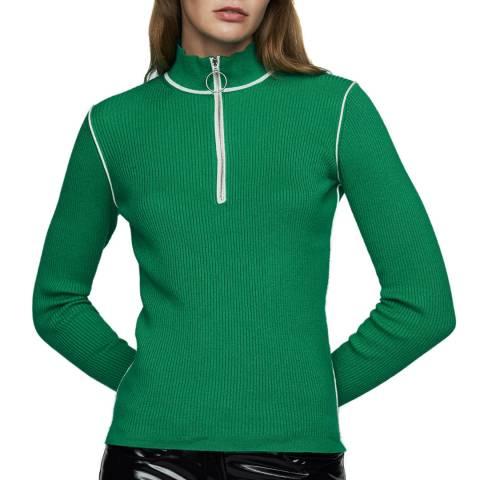 MAJE Green Ribbed Cotton Blend Jumper