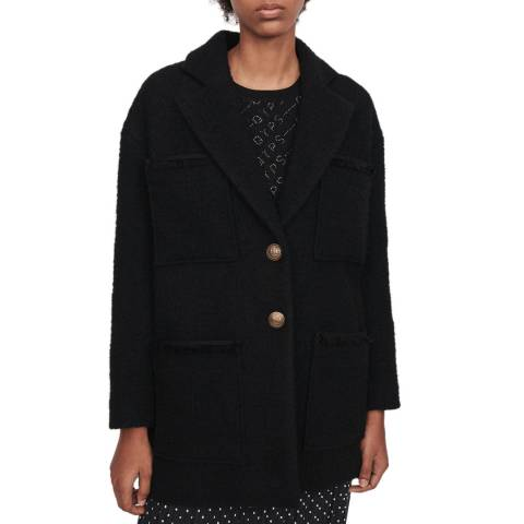MAJE Black Guilian Single Breasted Coat