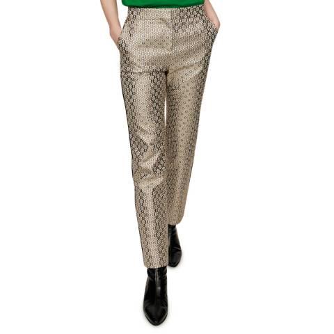 MAJE Warm Grey Metallic Jacquard Slim Trousers