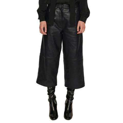 MAJE Black Pantil Super Crop Leather Culottes