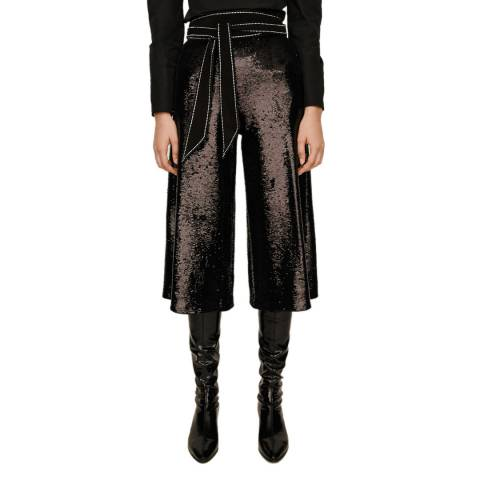 MAJE Black Party Sequin Super Crop Culottes